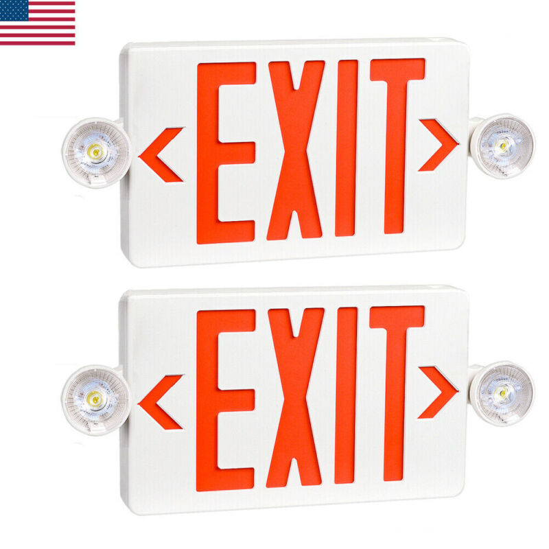 2PCS Emergency Light-Red LED Exit Sign - Dual Lamp ABS Fire Resistance UL-Listed