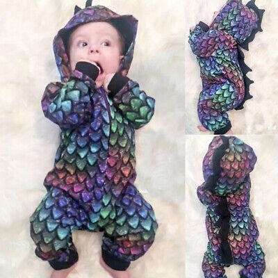 Toddler Boy Dinosaur Costume (Toddler Kid Baby Girl Boy 3D Dinosaur Scales Long Sleeve Romper Jumpsuit)