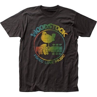 Authentic Woodstock 3 Days Peace & Music Colorful Logo Guitar Bird T-shirt top](Birds T)