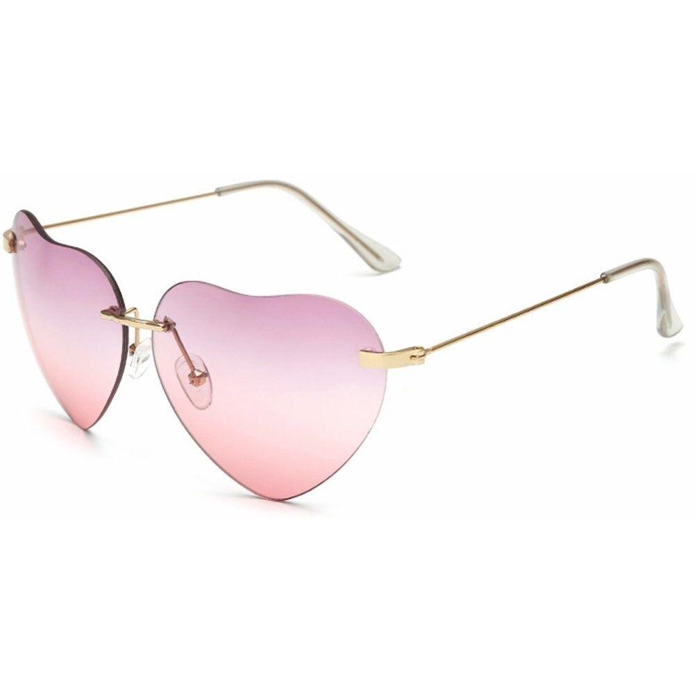 Big Heart Shaped Aviator Sunglasses Thin Gold Frame Glasses