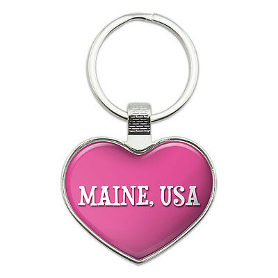 Metal Keychain Key Chain Ring Pink I Love Heart State in USA