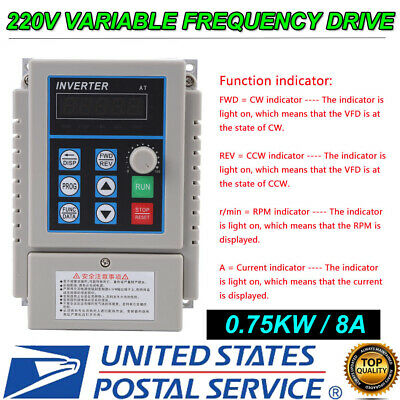 220v 2hp 0.75kw Single Phase To 3three Phase Output Frequency Converter Vfd Vsd