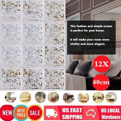 12Pc 40cm DIY Room Divider Hanging Wall Panel Decor Art Plastic Screen Partition