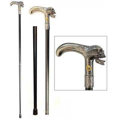 NEW Stately Walking Stick Pewter-Look Metal Flaming Skull Head 2-Piece Cane