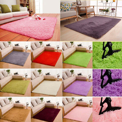 Home Shaggy Fluffy Rugs Anti-Skid Area Rug Dining Room Carpet Bedroom Floor Mat