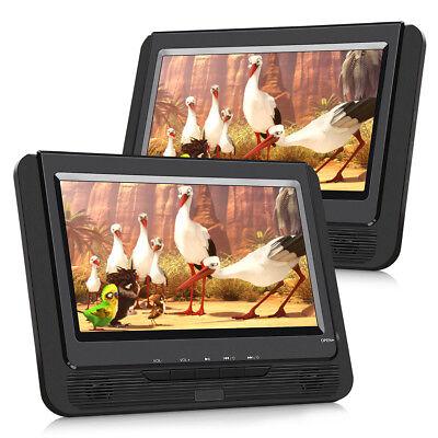 2x 9'' Auto Tragbarer DVD CD Player Monitore USB Kopfstütze TFT DAT Bildschirm