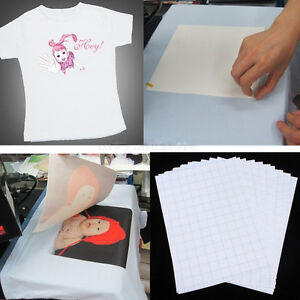 10x T-Shirt Print Iron-On Heat Transfer Paper Sheets For Dark/Light Fabric Cloth