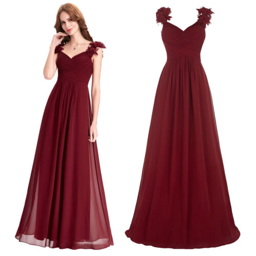 bordeaux femmes robe bal f te de cocktail tenue demoiselle d 39 honneur longue hei ebay. Black Bedroom Furniture Sets. Home Design Ideas