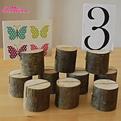 10×Rustic Wood Table Numbers Holder Place Card Holder Wedding  Name Card Holder  - Wood Table Numbers