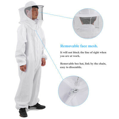 Professional Full Body Beekeeping Bee Keeping Suit With Veil Hood White Lxlxxl