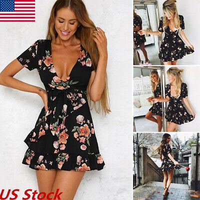 2019 Sexy Womens Boho Floral Print V-Neck Mini Short Dress Summer Beach Sundress Floral Print Cotton Sundress