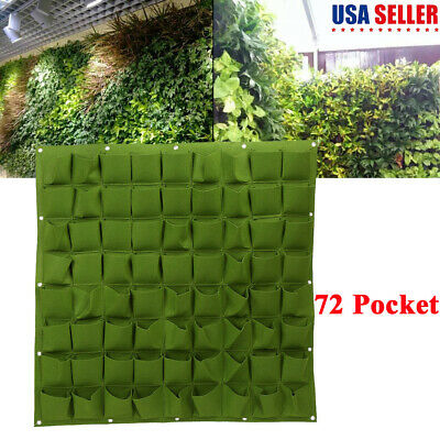Hanging Wall Pockets (72 Pockets Hanging Planting Bags Wall Vertical Garden Seedling Plant Green US )