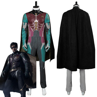 Teen Titans Robin Dick Grayson Cosplay Costume Outfit Uniform Jumpsuit Suit Cape - Teen Titan Robin Costume