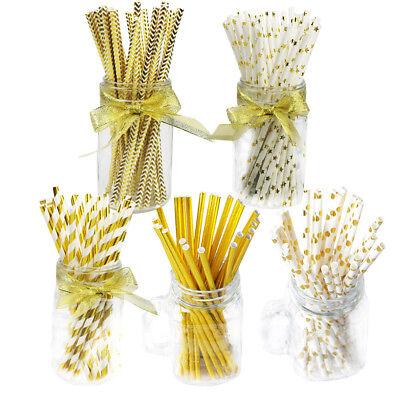 25Pcs Luxury Gold Strip Drink Paper Straws Wedding Birthday Party Supplies Decor