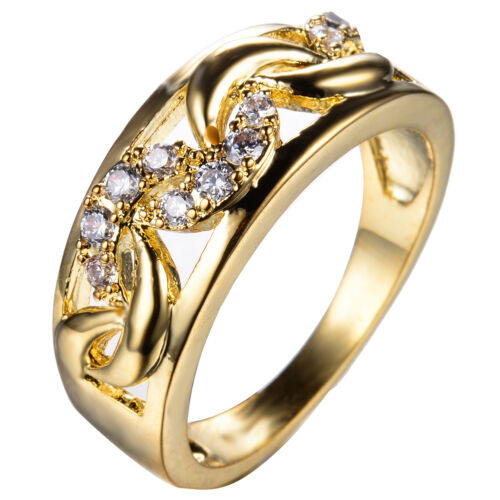 Moon Shape Crystal Ring 10KT Yellow Gold Filled Men/Women's Wedding Band Sz 6-10