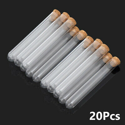 20pcs Clear Hard Plastic Test Tubes With Cork Stoppers For Candy Beans Or Lab C