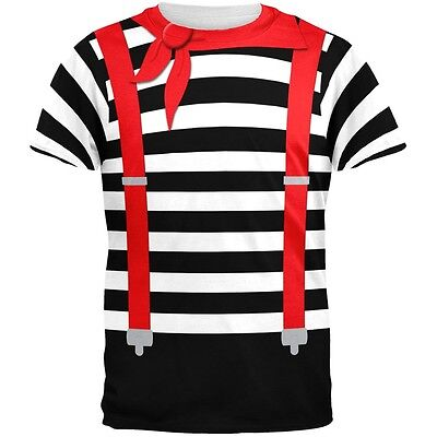 Halloween French Mime Costume All Over Adult T-Shirt - French Mime Halloween