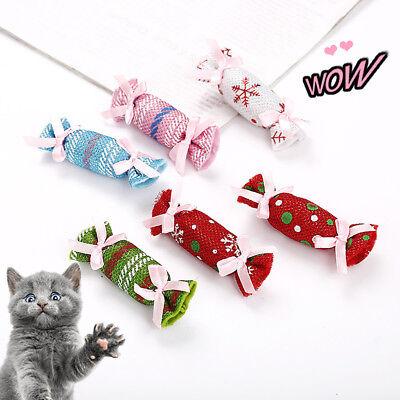 Pet Cat Interactive Teaser Chew Scratch Christmas Candy Catnip Sachet Toy New