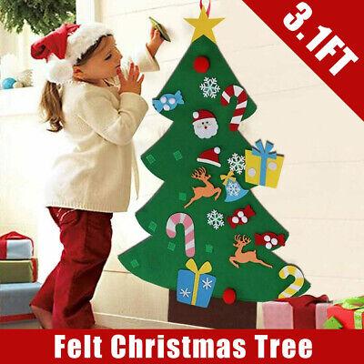 3ft DIY Felt Christmas Tree Detachable Ornaments Set Wall Hanging Xmas Decor Kid