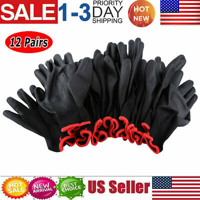 12 Pairs Nylon PU Protective Gear Safety Work Gloves Garden Grip Builders PPE