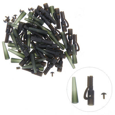 40x Terminal Rig Tackle Set Carp Fishing Lead Clips and Tail Rubbers Weedy Green