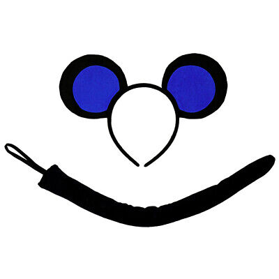 Mice Ears Costume (Blue Black Mouse-A-Like Ears Headband & Tail Costume Set 3 Blind Mice Mickey)