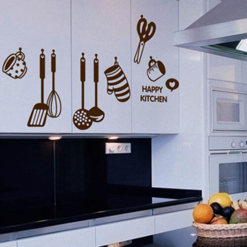 New removable happy kitchen pvc mural decal wall stickers - Wall stickers cucina ...