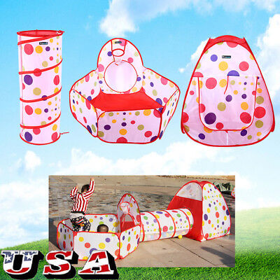 Baby Pit Balls Kids Play House Tent Tunnel Pool Indoor Outdoor Polka Dot 3 in 1