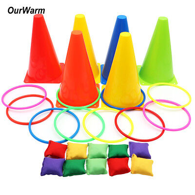 3 In 1 Ring Toss Game Set Outdoor Cone Bean Bags Puzzle Games for Birthday Party](Outdoor Party Games)