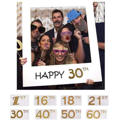 16//18//30//40//50th Frame Photo Booth Props Happy Birthday Party Supply Accessory