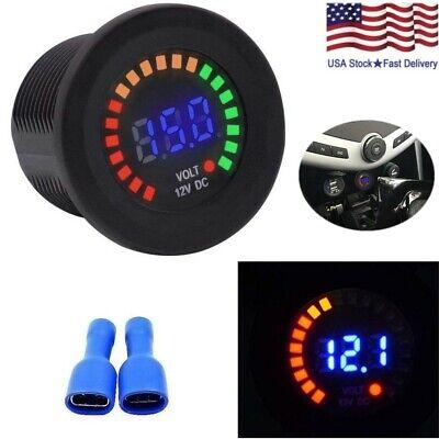 Car Van Boat Marine Led Voltmeter Voltage Meter Battery Gauge Waterproof 12v Usa