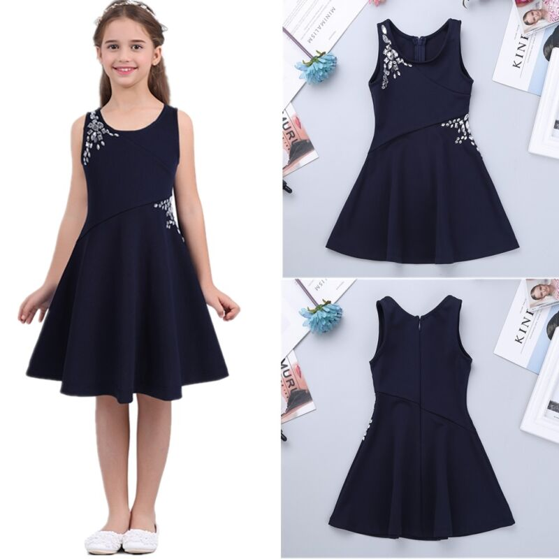 3f7f1168a75d Kids Girls Princess Sleeveless Rhinestones Dress Party Casual Summer  SundressUSD 4.65