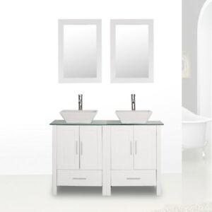 48 Double Sink Bathroom Vanity Cabinet Combo White Gl Top W Faucet Mirror