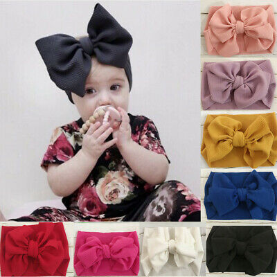 Baby Girl Toddler Big Bow Hairband Headband Stretch Turban Head Wrap Headwear (Big Bow Headbands)
