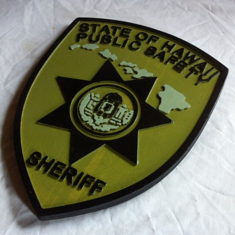 Police Hawaii Sheriff  Subdued 3D routed wood  patch plaque sign Custom Carved