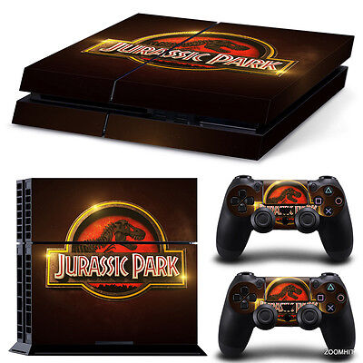 PS4 Playstation 4 Console Skin Decal Sticker Jurassic Park + 2 Controller...