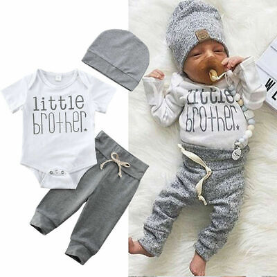 US 3Pcs Newborn Baby Boy Top T-shirt Long Pants 3-24M Kid Outfit Clothes Set Hat