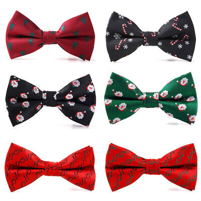 Gentleman Christmas Bow Tie Santa Claus Snowflake Men Fashion Bowtie Adjustable Christmas Snowflake Tie