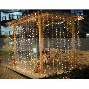 3M×3M 300 LED Warm White Twinkling Window Curtain Fairy Christmas String Lights
