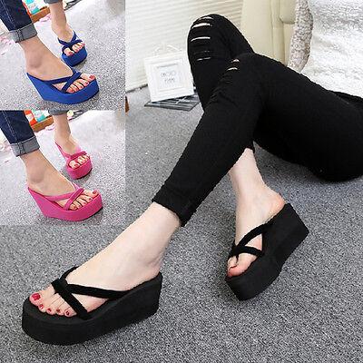 Women Thong Strap Flip Flops High Heel Slippers Platform Summer Wedge Sandals OS Strap Wedge Flip Flops