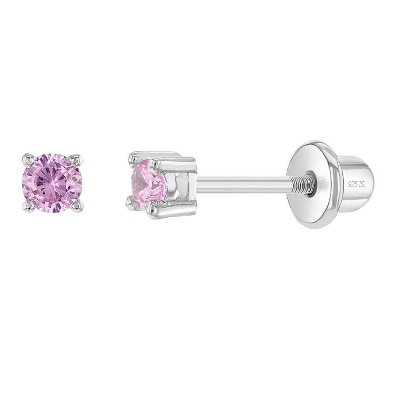 925 Sterling Silver Pink CZ Stud Baby Earrings Screw Back Toddlers to Kids 2mm