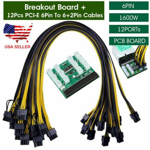 For HP PSU GPU 6PIN 1600W Mining Power DPS-1200FB 12Ports Breakout Board Kits