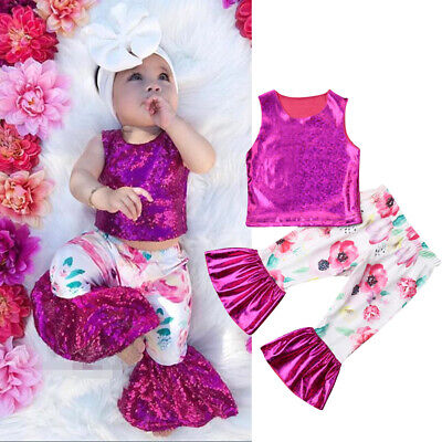 US Kids Baby Girls Outfits Set Summer Clothes Tops T-shirt+ Bell Bottom Pants