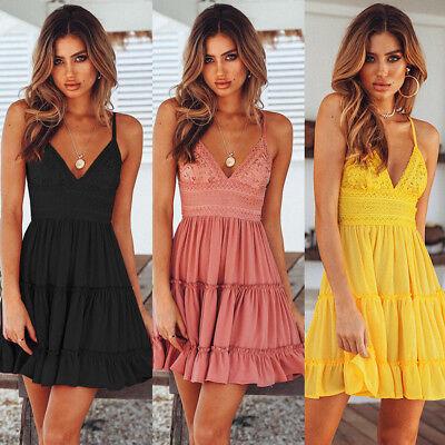 - Women Summer Boho Short Mini Dress Evening Cocktail Party Beach Dresses Sundress