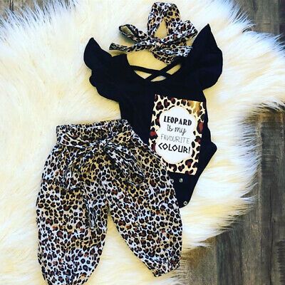 Girls Leopard (US 3PCS Newborn Baby Girls Clothes Fly-Sleeve Tops+Leopard Long Pants Outfit Set )
