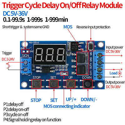 Dc 5v36v Dual Mos Control Cycle Trigger Timer Delay Relay Module Switch Led