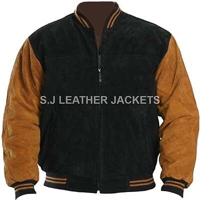 Men's Fashion Bomber Black and Brown Suede Leather Jacket All Sizes Xs-5xl