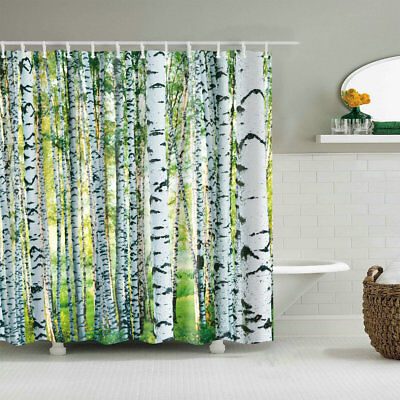 Birch Tree Curtains (Woodland Decor Shower Curtain Birch Trees Nature Themed Bath Curtains 12)