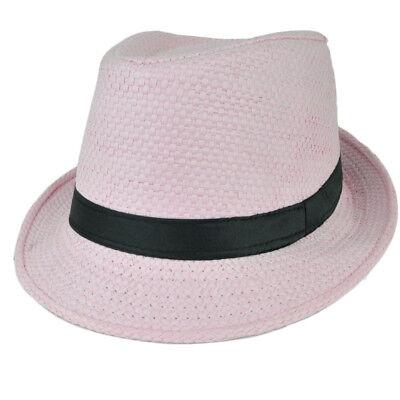 Fedora Rosa Grande Sombrero Diamante Sudadera Negro Chulo Gángster Paja Tejido