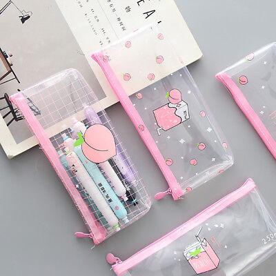Cute Pen Pencil Case Clear Plastic Pencil Case Pouch Zipper Cosmetic Makeup - Plastic Pencil Case